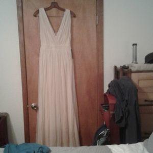 Nude mesh maxi dress
